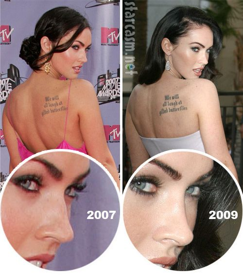 Megan Fox before after nose plastic surgery